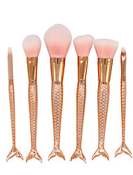 YZIMENG® 6pcs Pink Mermaid Tail Makeup Brush Set Blush/Eyeshadow/Lip/Eyebrow/Concealer/Powder Synthetic Hair Travel Beauty Care Make Up for Face