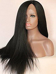 New Yaki African American Synthetic Hair Wig Straight High Temperature Heat Resistant Black Lace Front Wig On Sale