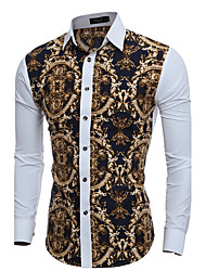 Men's Personality Fashion National Style Flower Casual Long-Sleeved Shirt