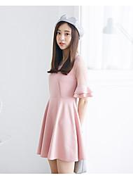 Sign summer new Korean Women gauze stitching Slim was thin knit dress