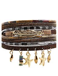 Кожаные браслеты Мода Богемия Стиль Кожа Сплав В форме звезды В форме листа Бижутерия Назначение Свадьба Для вечеринок Особые случаи День