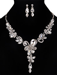 cheap -Women's Crystal Jewelry Set - Crystal, Rhinestone Flower Personalized, Vintage, Euramerican Include Necklace / Earrings Gold / Silver / Gray For Wedding / Party / Special Occasion