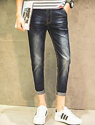 Verão meia-calça masculina trecho selvagem magro retro casuais calças jeans pés 9 calças bolso oblíqua