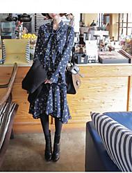 2017 весной новый корейский торговый корейский вариант сладкого рыхлой с длинными рукавами цветочные платья была тонкая талия женщина