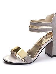 preiswerte -Damen Schuhe Kaschmir Sommer Komfort Sandalen Walking Blockabsatz / Block Ferse Offene Spitze Schnalle für Schwarz / Grau / Rot