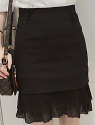 Damen Hohe Hüfthöhe Ausgehen Lässig/Alltäglich Knielänge Röcke Bodycon Trompete/Meerjungfrau einfarbig Riemengurte Sommer
