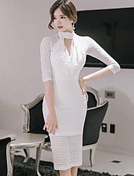Women's Business Engagement Party Wedding Party Street Office & Career Work & Safety Sexy A Line Dress,Sexy High Neck Knee-length 3/4