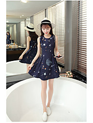 Women's Wedding Daily School Birthday Party Bachelor's Party Sexy Cute A Line Dress,Print Round Neck Above Knee, Mini Sleeveless Chiffon