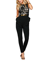 Women's Lace|Backless|Ruffle Round Neck High Rise Casual/Daily OL Work Lace Sequins Cut Out Patchwork Print Jumpsuits