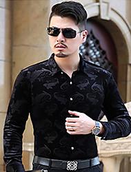 preiswerte -Herrn Jacquard Wochenende Hemd, Klassischer Kragen Baumwolle
