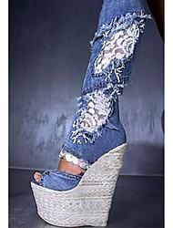 baratos -Mulheres Sapatos Tecido Verão / Outono Sapatos clube / Botas Cowboy / Country / Inovador Sandálias Caminhada Salto Plataforma Ponta