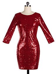 Moulante Robe Femme Soirée Couleur Pleine Col Arrondi Au dessus du genou Manches Longues Polyester Toutes les Saisons Taille Normale
