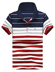 cheap -Men's Active Street chic Plus Size Cotton Polo - Solid Colored Striped Shirt Collar