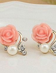 Women's Stud Earrings Euramerican Costume Jewelry Pearl Imitation Pearl Rhinestone Alloy Flower Rose Jewelry For Party Casual