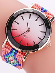 Damen Modeuhr Armbanduhr Quartz Stoff Band Kreativ Cool Bequem Schwarz Rot Braun Schwarz Braun Rot
