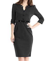 Women's Plus Size Formal Party Vintage Bodycon Dress,Solid V Neck Knee-length ¾ Sleeve Cotton Polyester Summer High Rise
