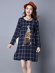 Sign cotton spring new large size printing long-sleeved dress was thin literary plaid skirt A word