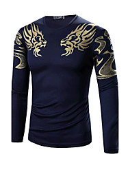 Men's Sports Formal Going out Casual/Daily Simple Active Chinoiserie Summer T-shirt,Geometric Round Neck Long Sleeve Cotton Medium