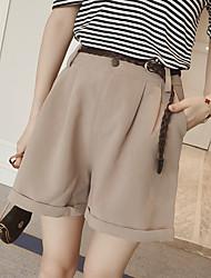As mulheres novas do verão cintura frouxa eram calças finas do pé largo do chiffon que curvam shorts ocasionais com correia