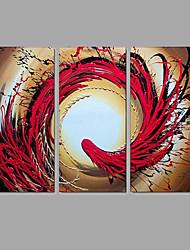 Dipinta a mano Astratto Paesaggi Orizzontale,Modern Classico Tre Pannelli Tela Hang-Dipinto ad olio For Decorazioni per la casa