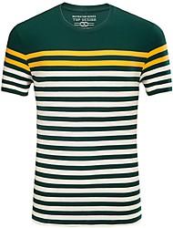 Herren Gestreift Einfach Lässig/Alltäglich T-shirt,Rundhalsausschnitt Sommer Kurzarm Baumwolle Elasthan Mittel