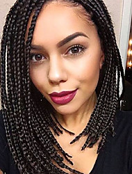 lace frotal 3s box braid wig 16inch synthetic braiding wig dark brown #2 color 16inch 1pcs