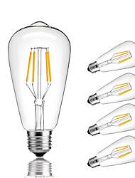abordables -4W E27 Ampoules à Filament LED ST64 4 COB 360 lm Blanc Chaud Blanc Froid Décorative AC 100-240 V 5 pièces