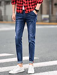 Spring men's jeans Slim male pantyhose stretch pants feet 9 pants Korean teen pants
