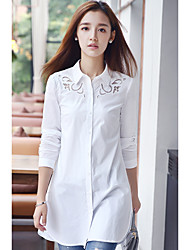 Real shot 2016 autumn new Korean Fan large size women openwork embroidery shirt female long section