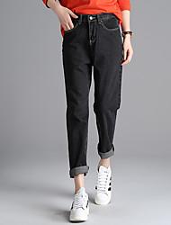 segno nella primavera del 2017 versione coreana era sottile baggy vita libera, pantaloni in denim nero e grigio crollo femminili