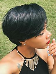 Недорогие -поделки-парик короткие волосы пушистые черные естественные прямые густые парики волос монолитным человека для элегантных женщин