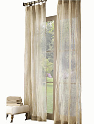 cheap -Sheer Curtains Shades Kids Room Solid Colored Linen Print
