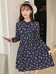 firmano 2017 della molla nuove donne coreane sottili era in vita allampanato piccola margherita vestito dalla stampa toccare il fondo