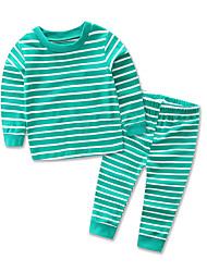 cheap -Children's Daily Striped Sleepwear, Cotton Polyester Spring Fall All Seasons Long Sleeves Stripes Green Red Royal Blue