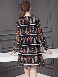2017 nouveau printemps à manches longues femmes robe de soie imprimé robe de soie arc talons hauts