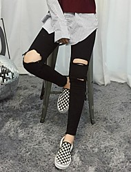 Spring 2017 Korean version of the new black and white Western style Trendy knee burr hole feet pencil jeans