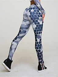 cheap -Women's Sexy Sporty Legging - Print, Business Patchwork High Waist