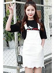 Знак лето новый корейский институт ветра диких джинсовой ремень платье случайные студент короткая юбка