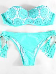 Women's Halter Bikini Lace Up  Swimwear / Floral Polyester  Green Swimsuit
