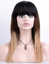 Недорогие -человеческие волосы Remy Полностью ленточные Парик Бразильские волосы Прямой Парик 130% Плотность волос / Волосы с окрашиванием омбре / Природные волосы / 100% ручная работа / с детскими волосами