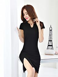 Mulheres reais do verão do tiro 2017&# 39; s versão coreana das novas senhoras moda slim pacote hip sexy maré vestido v-pescoço