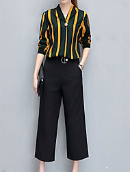 Chemise Pantalon Costumes Femme,Rayé Soirée Décontracté / Quotidien Travail simple Rétro Chic de Rue Eté Manches longues Coeur