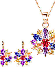 cheap -Women's Rhinestone Flower Jewelry Set 1 Necklace / 1 Pair of Earrings - Floral / Flower Style / Flowers Gold / White / Rainbow Bridal