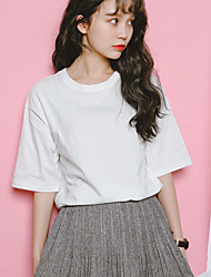 Nearby Spring Korean wild simple solid color basic models split round neck cotton loose short-sleeved t-shirt