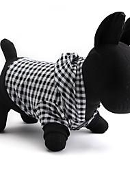 Недорогие -Кошка Собака Толстовки Одежда для собак Дышащий В клетку Черный Костюм Для домашних животных