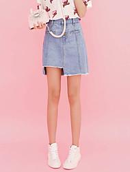 cheap -Sign Korean version was thin light-colored denim button irregular skirts women denim skirt