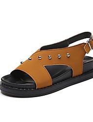 cheap -Women's Sandals Gladiator PU Spring Summer Casual Outdoor Gladiator Beading Gore Flat Heel Black Green Dark Brown Flat