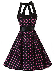 cheap -Women's Rockabilly Vintage Dress Black Pink Polka Dot Halter Knee-length Sleeveless Cotton All Seasons Mid Rise