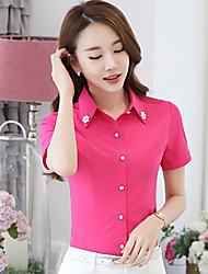 cheap -Women's Going out Casual Spring Summer Shirt,Solid Stand Short Sleeves Cotton Polyester Medium