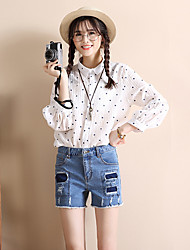 Sign 2017 spring and summer Korean female denim shorts hole patch jeans shorts elastic edges